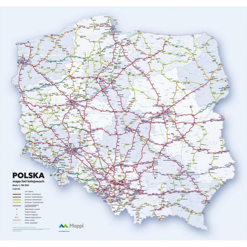 MAPA ŚCIENNA POLSKI – LINII KOLEJOWYCH 1:750 000 – NA PIANCE
