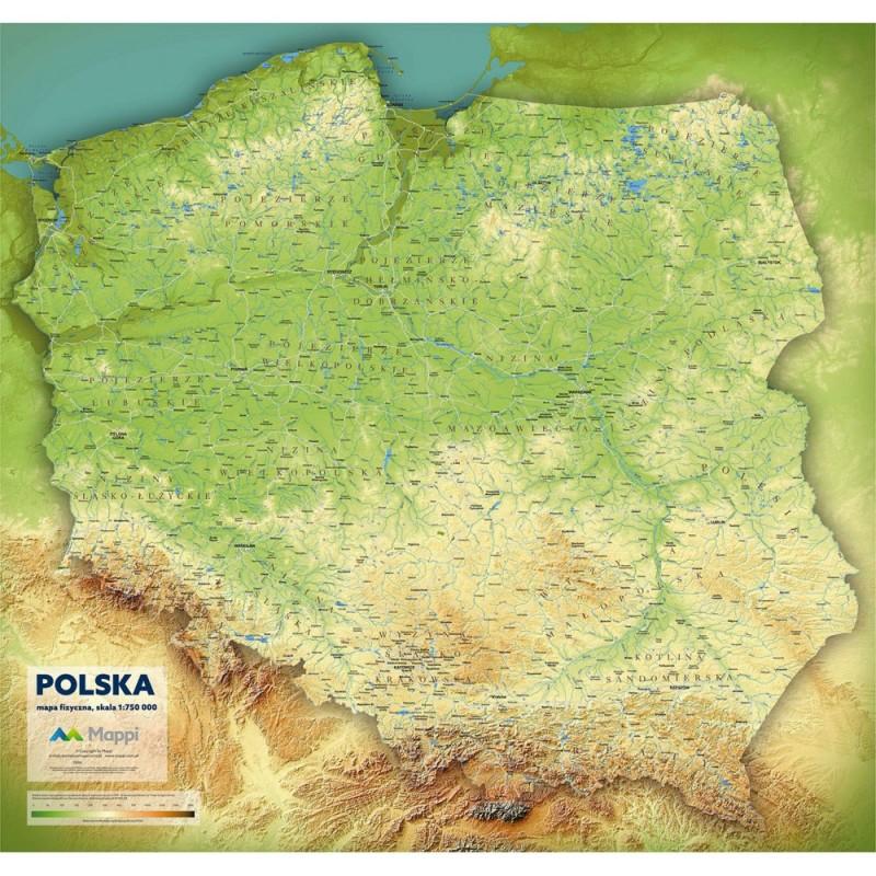 MAPA ŚCIENNA POLSKI – FIZYCZNA 1:750 000 – NA PIANCE