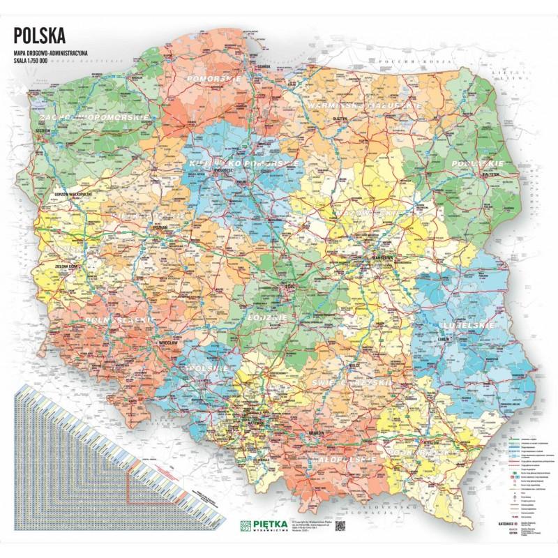 MAPA ŚCIENNA POLSKI ADMINISTRACYJNO – DROGOWA 1:750 000 – NA PIANCE