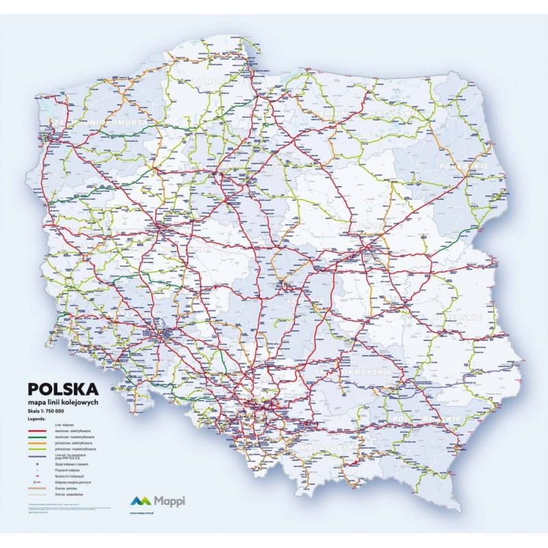 MAPA ŚCIENNA POLSKI – LINII KOLEJOWYCH 1:750 000