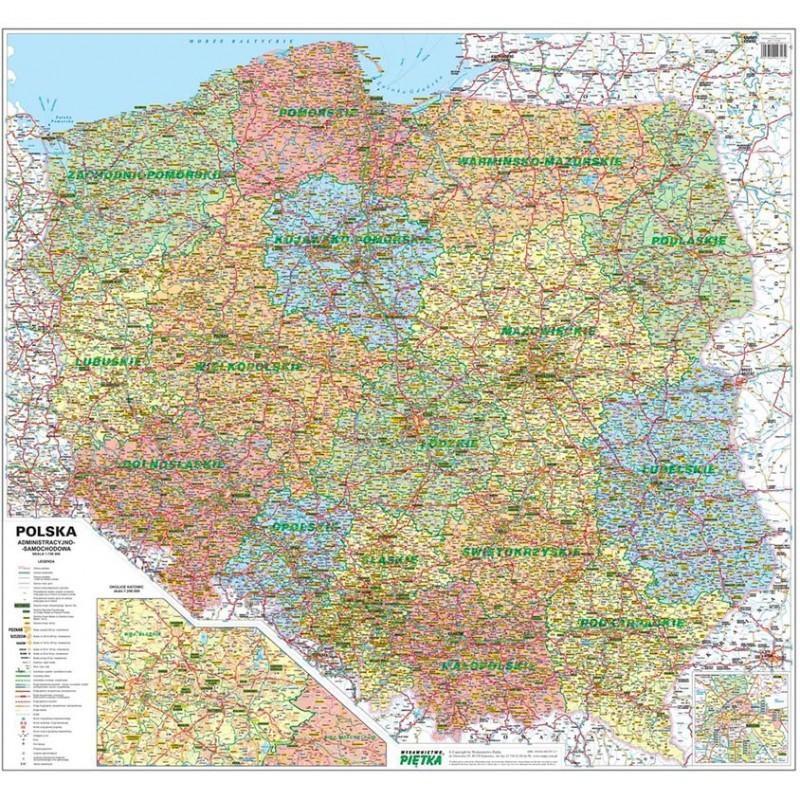 MAPA ŚCIENNA POLSKI – ADMINISTRACYJNO-SAMOCHODOWA 1:750 000