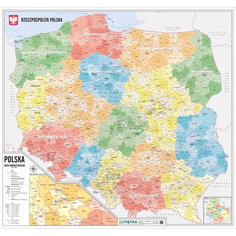 MAPA ŚCIENNA POLSKI – ADMINISTRACYJNA 1:750 000