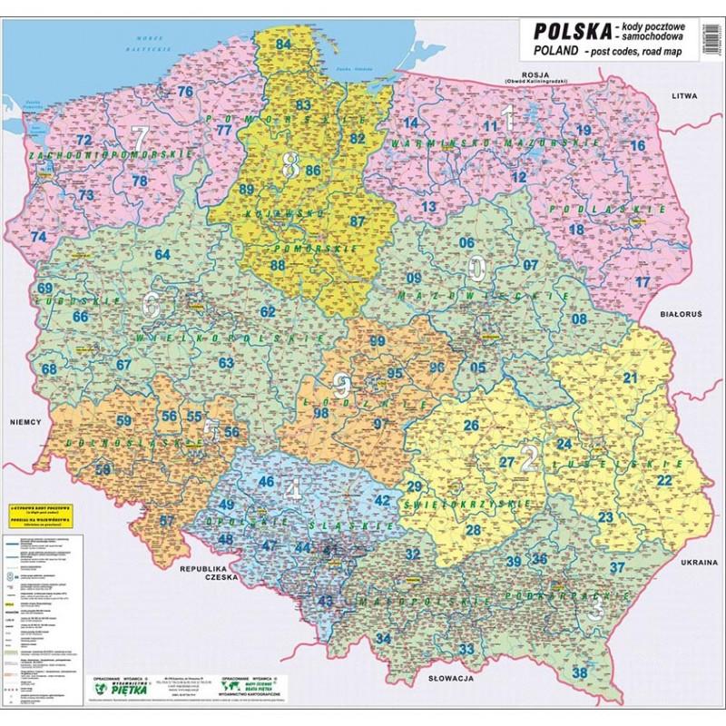 MAPA ŚCIENNA POLSKI – KODÓW POCZTOWYCH 1:720 000