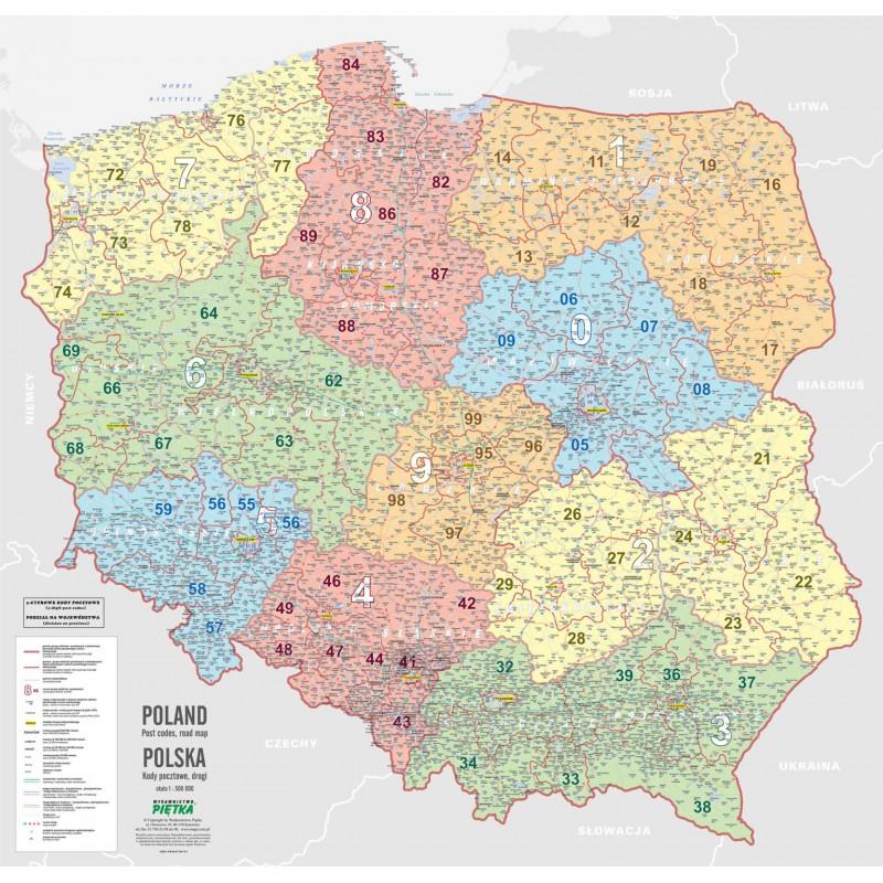 MAPA ŚCIENNA POLSKI – KODÓW POCZTOWYCH 1:500 000
