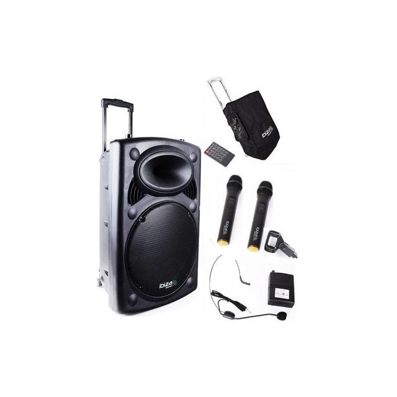 Nagłośnienie mobilne PORT-15 CALI UHF-BT 800W,  TRZY MIKROFONY,  POKROWIEC