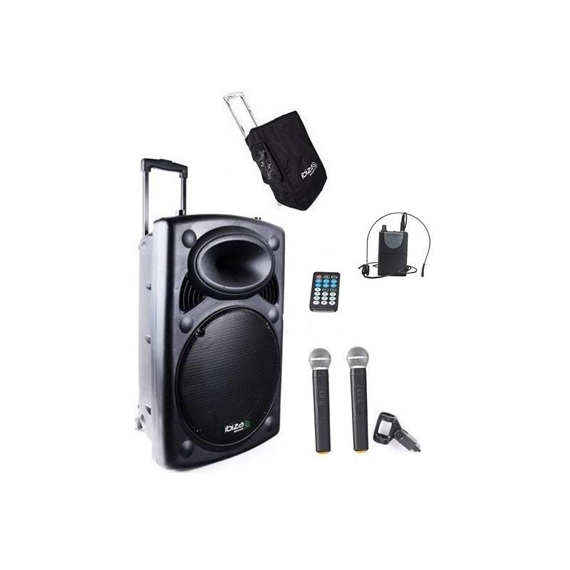 Nagłośnienie mobilne PORT-12 CALI VHF-BT 700W, TRZY  MIKROFONY + POKROWIEC