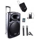Nagłośnienie mobilne PORT-15 CALI VHF-BT 800W, TRZY  MIKROFONY+ POKROWIEC