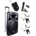 Nagłośnienie mobilne Ibiza PORT-15UHF-BT,  TRZY MIKROFONY,  POKROWIEC