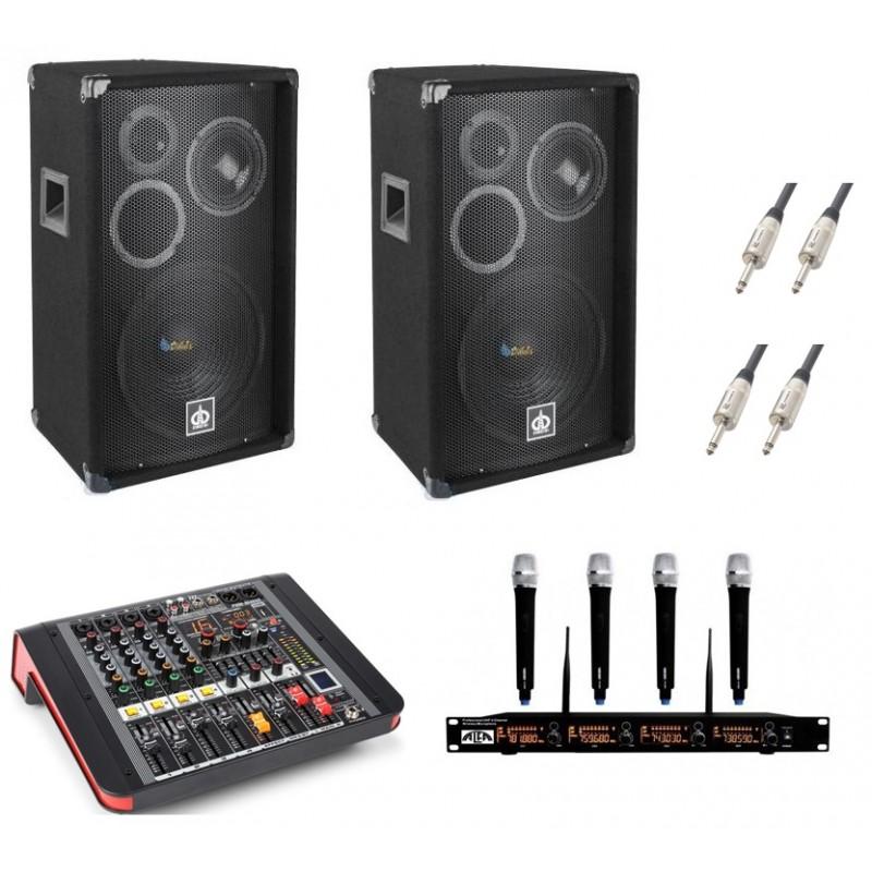 Zestaw nagłośnieniowy + 4 mikrofony UHF