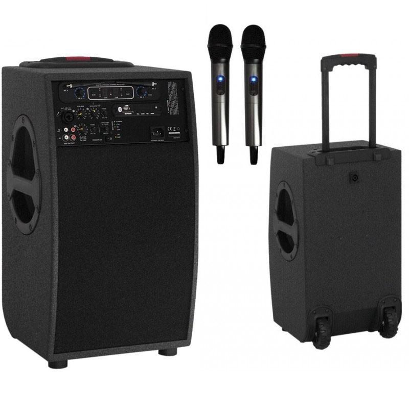 Przenośny zestaw nagłośnieniowy Troley+ dwa mikrofony bezprzewodowe