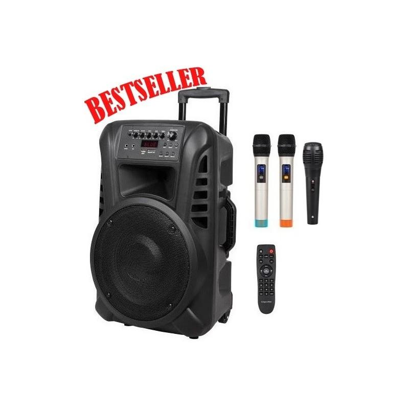Nagłośnienie mobilne kolumna  12 cali UHF ,2 mikrofony do ręki, USB, czytnik kart SD, Bluetooth, akumulator, radio FM