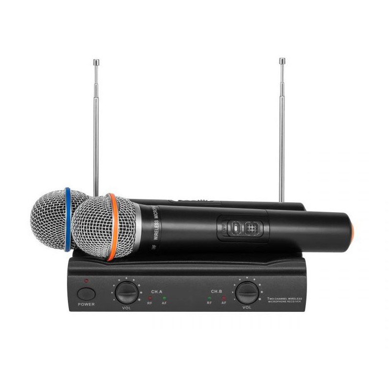 Dwa mikrofony bezprzewodowe  2 kanały VHF300