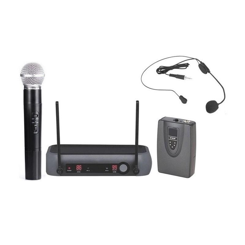 Mikrofony bezprzewodowe: do ręki + nagłowny PM-9-2