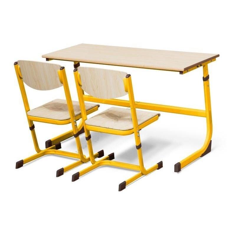 Stół szkolny dwuosobowy żółty z regulacją