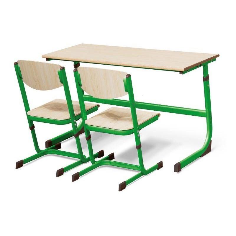 Stół szkolny dwuosobowy zielony z regulacją