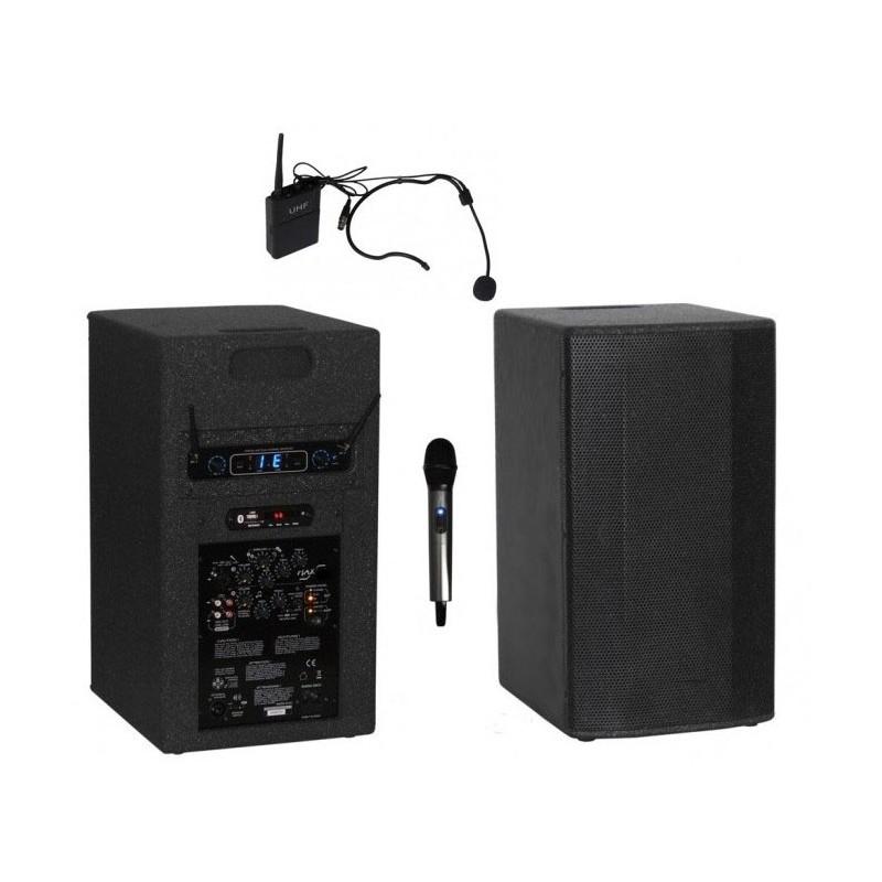 Przenośny zestaw nagłośnieniowy PSM-28+ 2 mikrofony: do ręki i nagłowny z regulowaną częstotliwością 2x16 kanałów