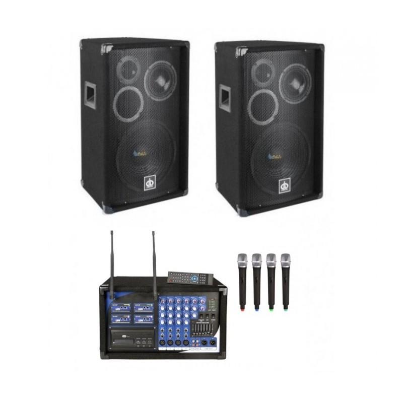 Zestaw nagłośnieniowy: 2 kolumny 2x500W, 4 mikrofony, USB/MP3, Czytnik SD, CD,DVD