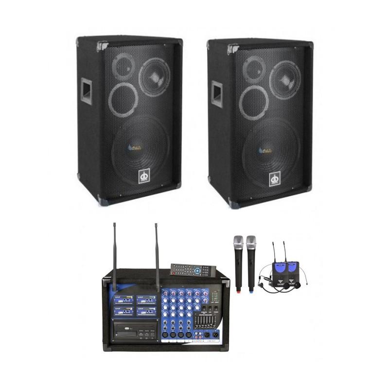 Zestaw nagłośnieniowy: 2 kolumny 2x 500W, 4 mikrofony, USB/MP3, Czytnik SD, CD,DVD