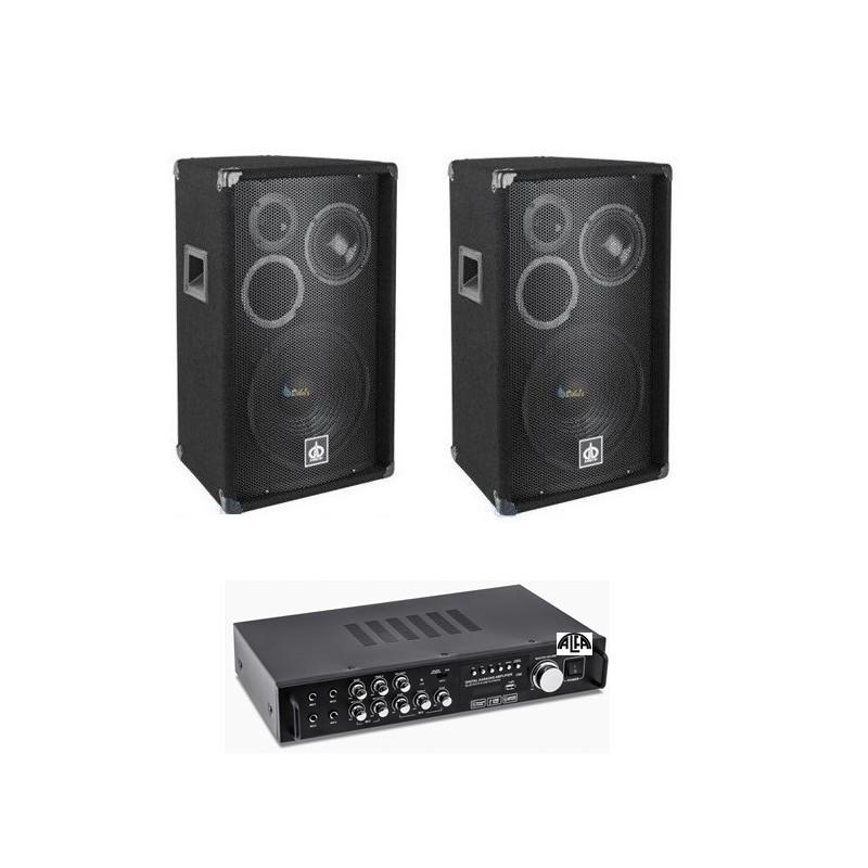 Zestaw nagłośnieniowy 2x300 WAT, Wzmacniacz USB, Bluetooth