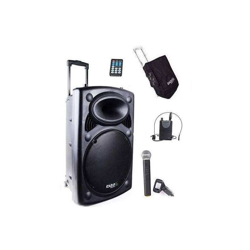 Nagłośnienie mobilne  PORT-15 CALI VHF-BT 800W, DWA  MIKROFONY+ POKROWIEC