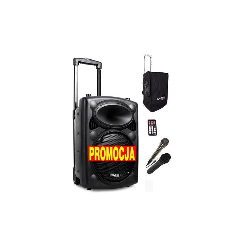 Nagłośnienie przenośne Port-8 cali VHF, dwa mikrofony