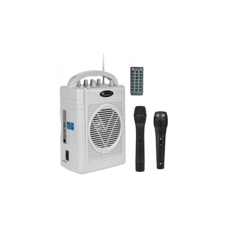 Nagłośnienie bezprzewodowe MK-131 z mikrofonem bezprzewodowym, wbudowany akumulator, USB, Czytnik kart SD