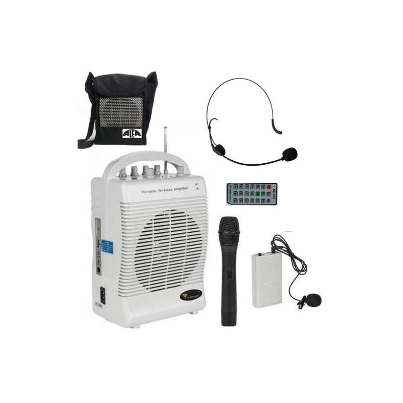 Nagłośnienie przenośne MK-132,TORBA NA RAMIĘ,  mikrofon do ręki, nagłowny, na klips, USB, Czytnik kart SD, wbudowany akumulator