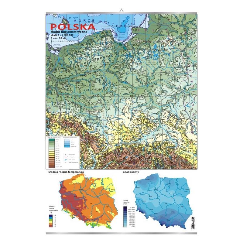 Polska - mapa hipsometryczna + mapki temperatury i opadów