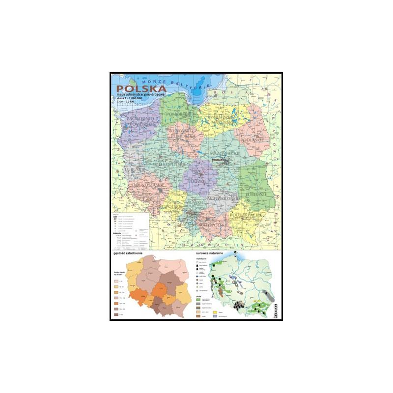 Mapa administracyjno-drogowa + mapki zaludnienia i surowców