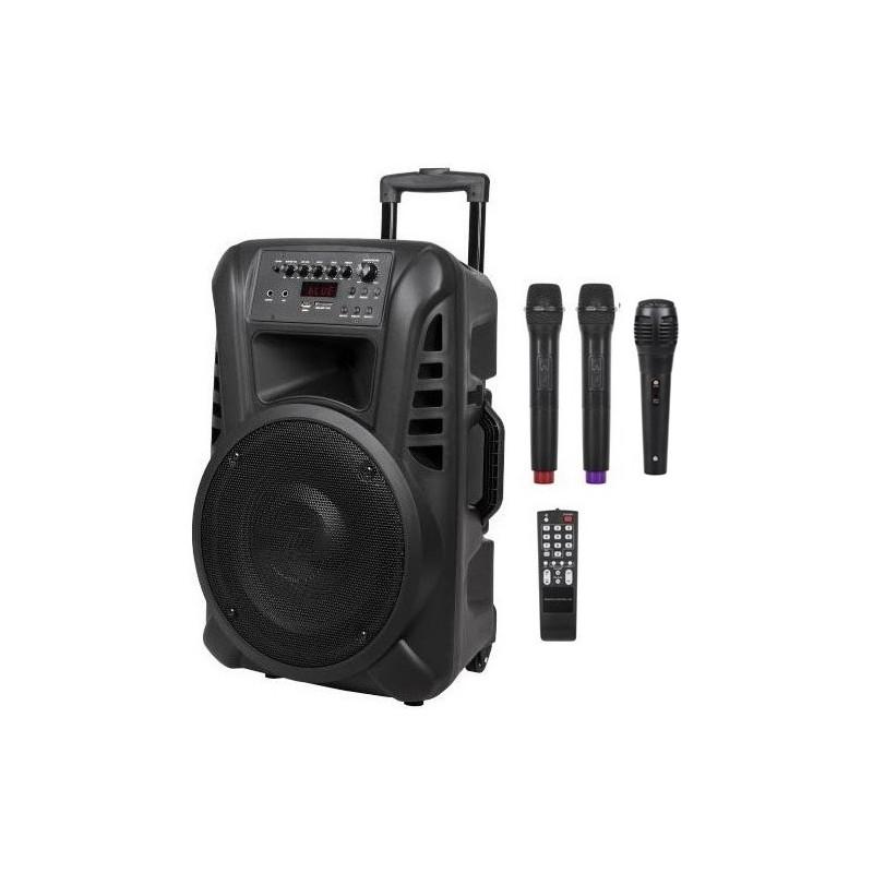 Nagłośnienie mobilne kolumna  12 cali VHF, 2 mikrofony do ręki, USB, czytnik kart SD, Bluetooth, akumulator, radio FM