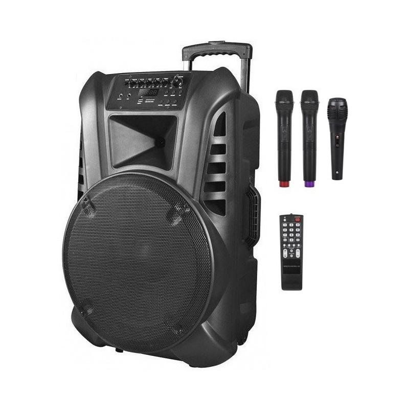 Nagłośnienie mobilne kolumna 15 cali VHF ,2 mikrofony do ręki, USB, czytnik kart SD, Bluetooth,akumulator,radio FM
