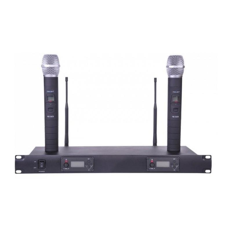 Mikrofony bezprzewodowe UHF LP200, 100 częstotliwości- dwukanałowe z automatycznym dostrajaniem