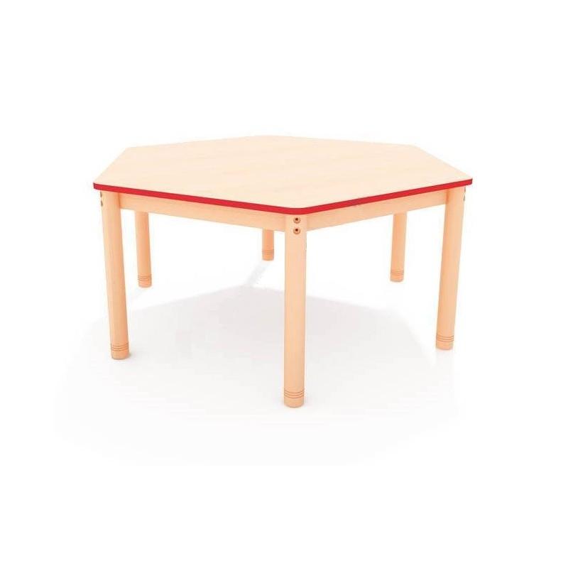 Stół sześciokątny z kolorowym obrzeżem