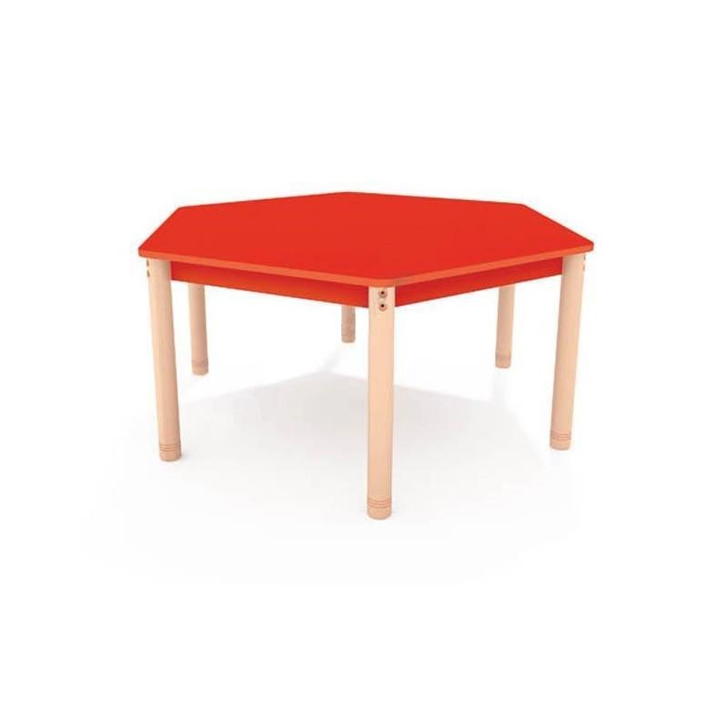 Stół sześciokątny z kolorowym blatem