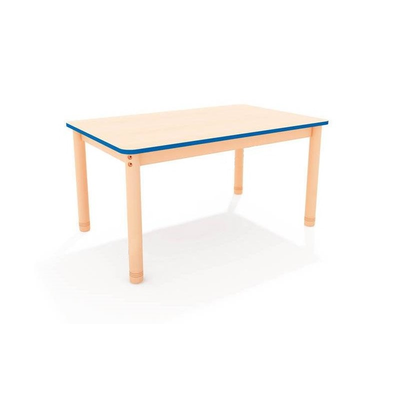 Stół szkolny prostokątny z kolorowym obrzeżem