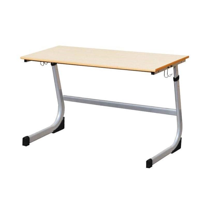 Stół szkolny dwuosobowy szary z regulacją