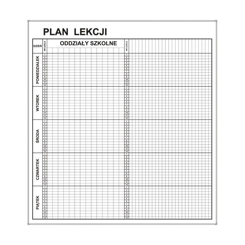 Plan lekcji magnetyczny suchościeralny 80x92 cm