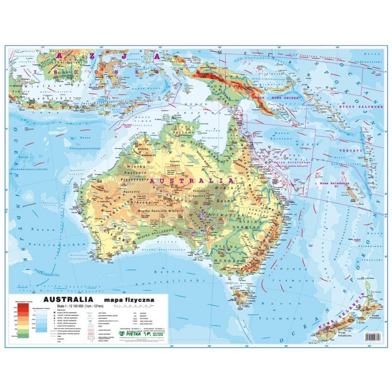MAPA ŚCIENNA AUSTRALII - FIZYCZNA / POLITYCZNA 68x51cm