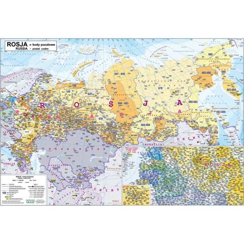 MAPA ŚCIENNA ROSJI - KODÓW POCZTOWYCH 125x82cm