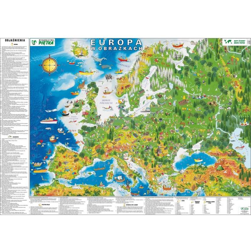 MAPA ŚCIENNA EUROPY DLA DZIECI W OBRAZKACH 140x100cm
