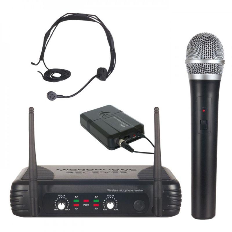 Mikrofony bezprzewodowe: do ręki  + nagłowny 721-ST