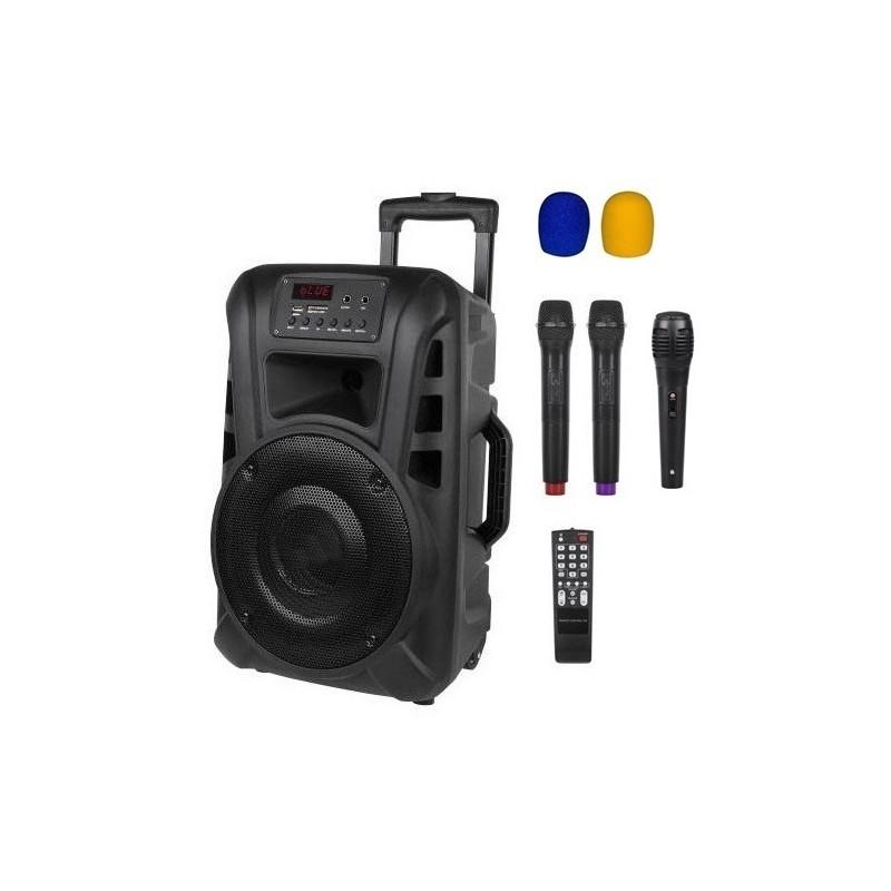 Nagłośnienie mobilne kolumna  10 cali VHF ,2 mikrofony do ręki, USB, czytnik kart SD, Bluetooth, akumulator, radio FM