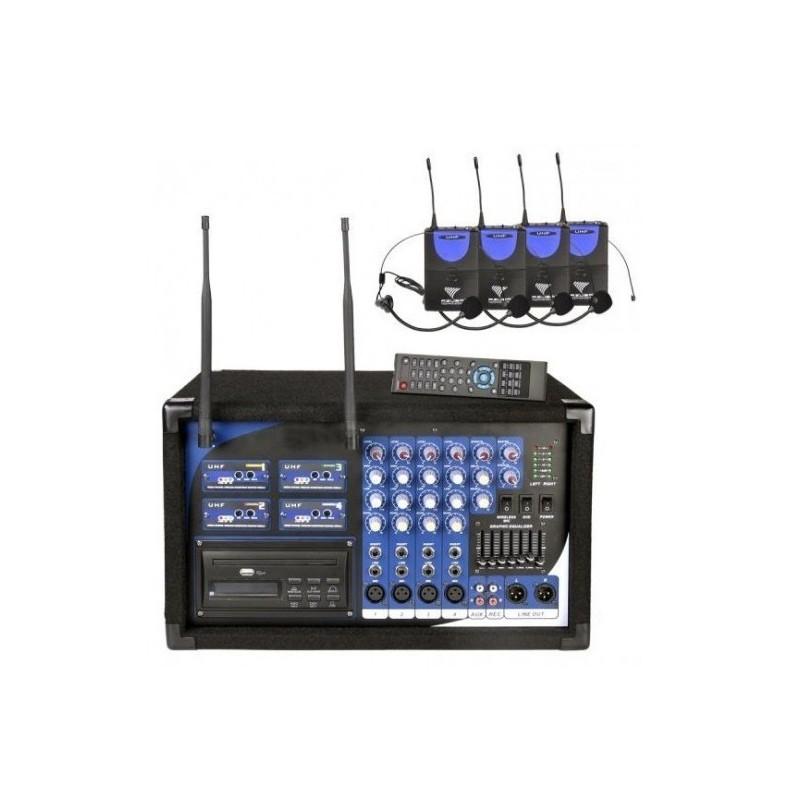 POWERMIKSER PA-108 + USB, CD, MP3, DVD, 4 MIKROFONY NAGŁOWNE UHF