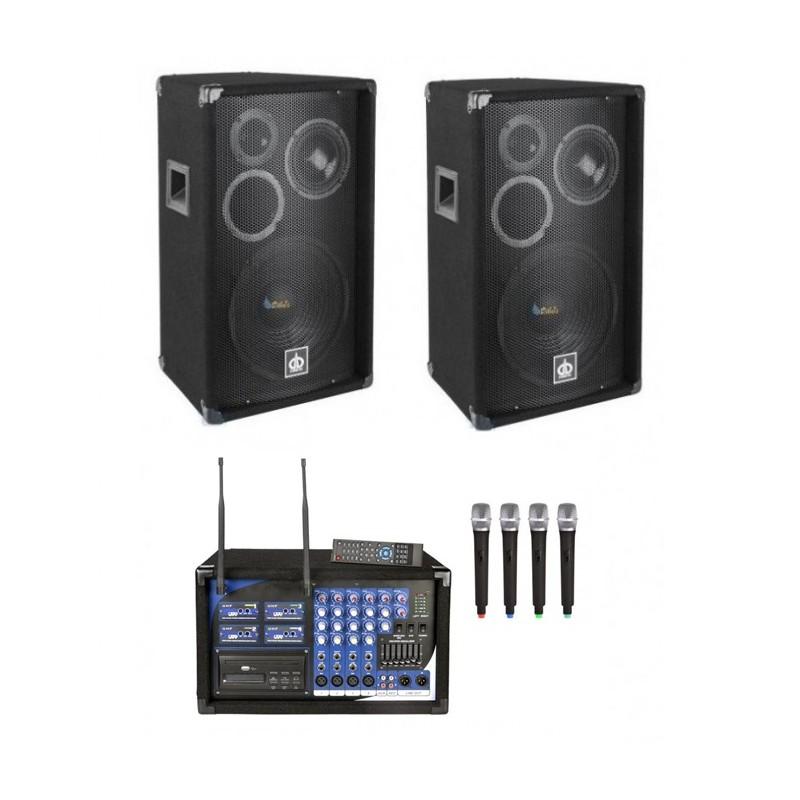 Zestaw nagłośnieniowy: 2 kolumny 2x400W, 4 mikrofony, USB/MP3, Czytnik SD, CD,DVD