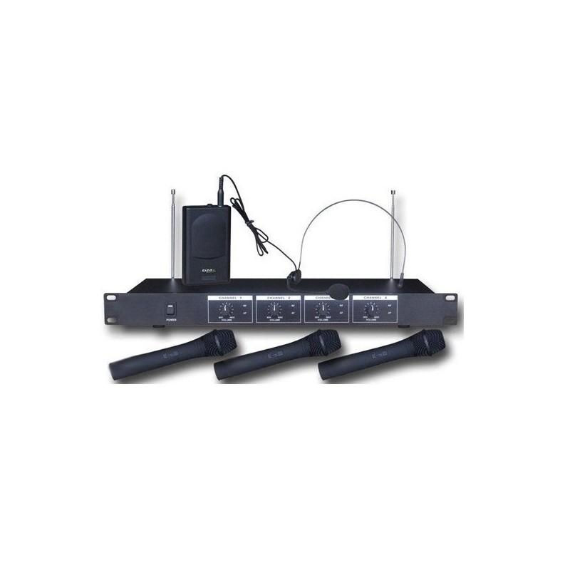 Mikrofony bezprzewodowe czterokanałowe 3 do ręki + 1 nagłowny-V4