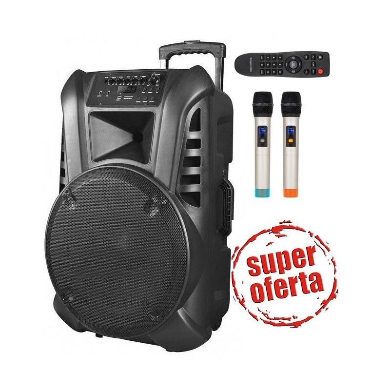 Nagłośnienie przenośne 15 cali UHF, 2 mikrofony UHF, USB, SD, Radio FM , Akumulator