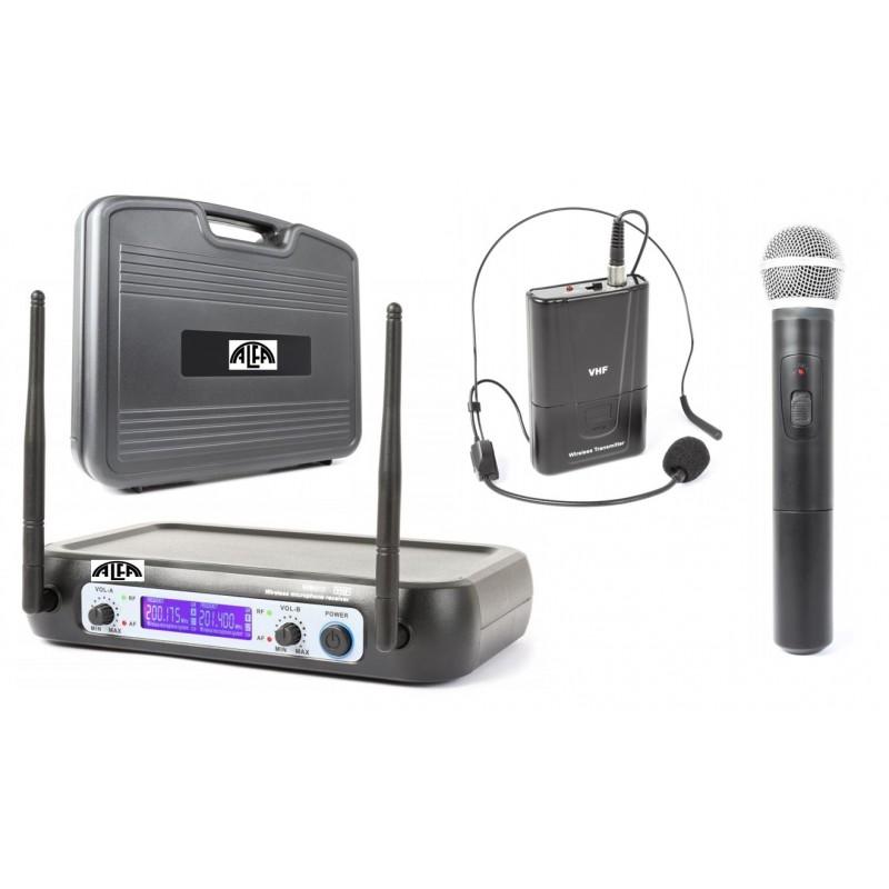 Mikrofony bezprzewodowe do ręki + nagłowny V-512+ walizka PCV- zestaw dwukanałowy