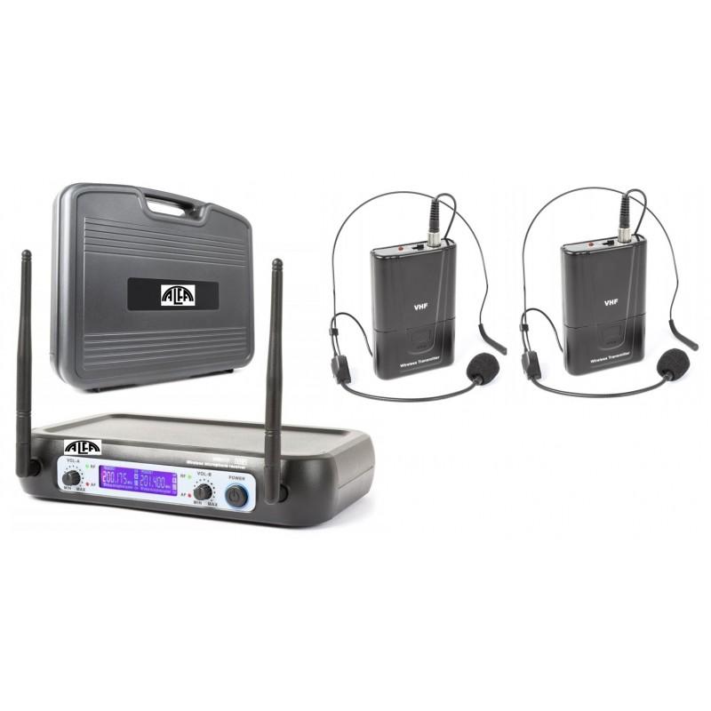 Mikrofony bezprzewodowe dwa nagłowne V-512+ walizka PCV- zestaw dwukanałowy