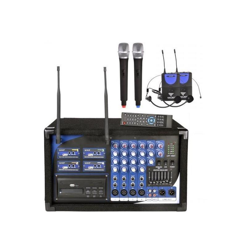 POWERMIKSER PA-108 + USB, CD, MP3, DVD, 2 MIKROFONY DO RĘKI, DWA NAGŁOWNE