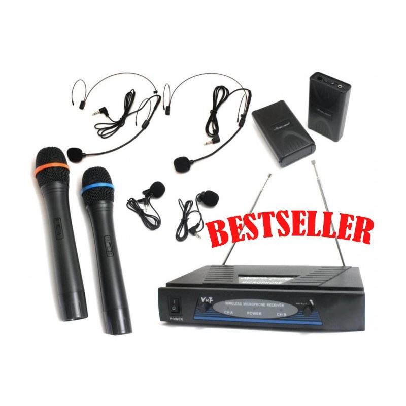 Mikrofony bezprzewodowe 6 sztuk: 2 do ręki, 2 nagłowne, 2 na klips - zestaw dwukanałowy